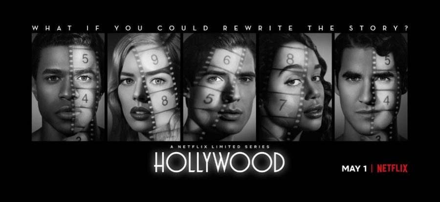 """Banner k seriálu Hollywood s postavami a s citátem """"What if you could rewrite the story?"""""""