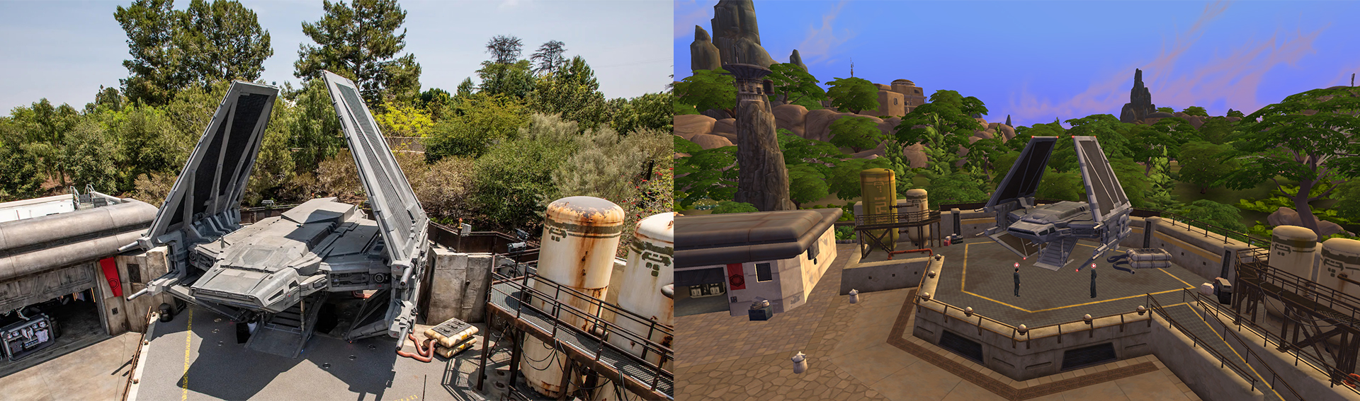 Vlevo obrázek z realného prvního řádu v Disneylandu, vpravu přesně to samé akorát v The Sims Výprava na Batuu.