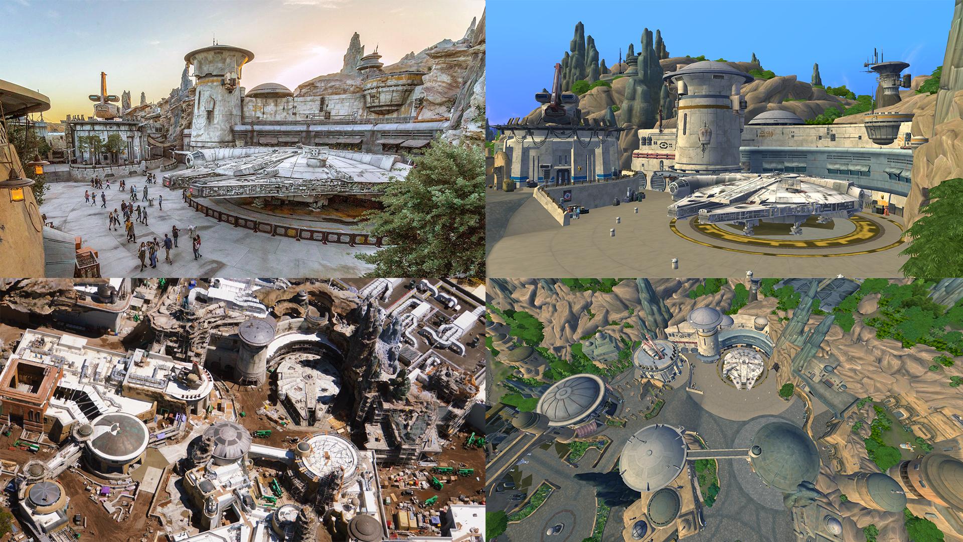 Vlevo obrázek z realného Disneylandu, vpravo přesně to samé akorát v The Sims Výprava na Batuu.